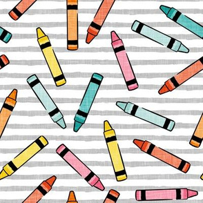 crayons - school supplies - kids art - multi on grey stripes - LAD20