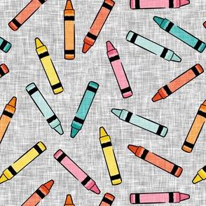 crayons - school supplies - kids art - multi on grey - LAD20