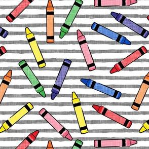 crayons - school supplies - kids art - primary on grey stripes - LAD20