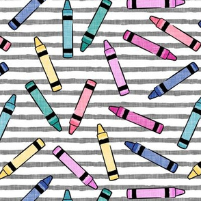 crayons - school supplies - kids art - pastels on grey stripes - LAD20