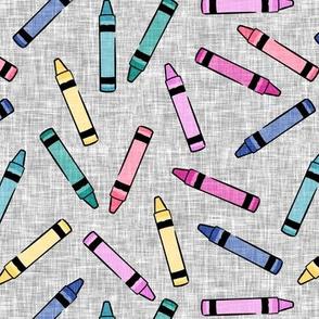 crayons - school supplies - kids art - pastels on grey - LAD20