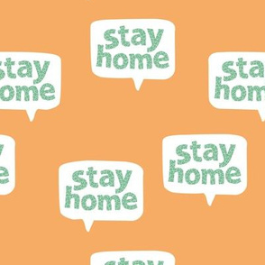 Inspirational text design stay home save lives corona virus design orange tangerine mint green leopard spots