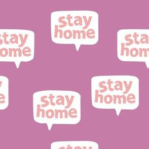 Inspirational text nurse design stay home save lives corona virus lilac peach pink purple leopard spots