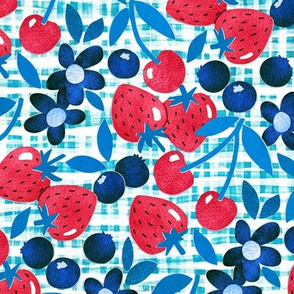 Paper Picnic Berry Collage in Red, White and Blue