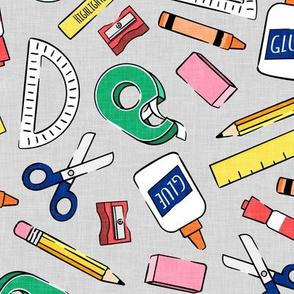 school supplies - back to school - teacher - green tape on grey  - LAD20