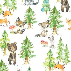 Young Forest – Kids Woodland Animals & Trees, Bedding Blanket Baby Nursery, MEDIUM scale