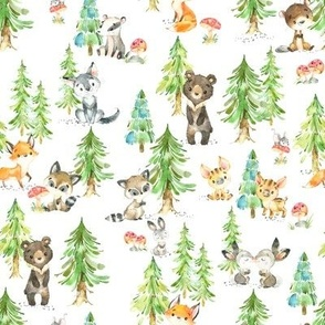 XS Young Forest – Kids Woodland Animals & Trees, Bedding Blanket Baby Nursery