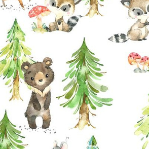 Young Forest – Kids Woodland Animals & Trees, Bedding Blanket Baby Nursery, LARGE scale
