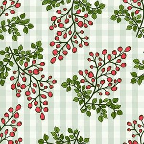 Huckleberry Madness - Full Color on Green Gingham