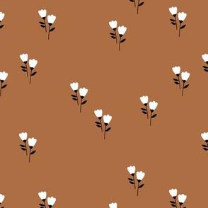 Sweet tulip flowers spring summer garden botanical Scandinavian minimalist design nursery rust copper brown