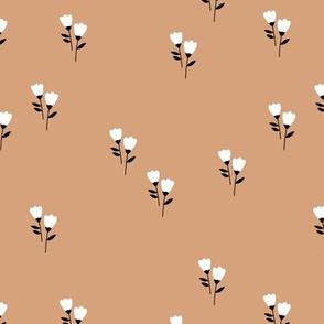 Sweet tulip flowers spring summer garden botanical Scandinavian minimalist design nursery soft beige brown latte caramel