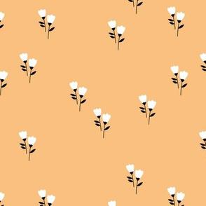 Sweet tulip flowers spring summer garden botanical Scandinavian minimalist design nursery soft honey yellow