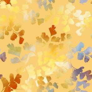 Papercut Maidenhair Fern Leaves in Earthy Rainbow Watercolor Paper