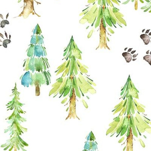 Forest Trees & Animal Tracks - LARGE scale