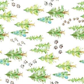 Forest Trees & Animal Tracks - MEDIUM scale, ROTATED