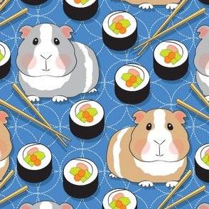 guinea pigs and sushi rolls on sashiko