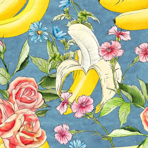 Banana chintz teal