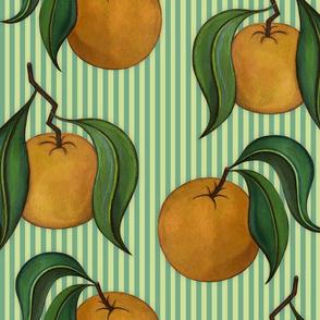 Orangepattern Stripes Green Large