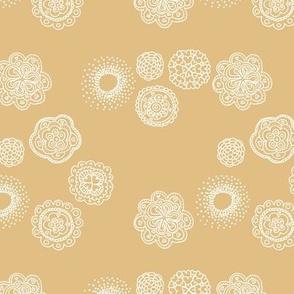 Blossom mandala abstract flower illustrations sweet romantic floral boho design spring summer ginger yellow honey white