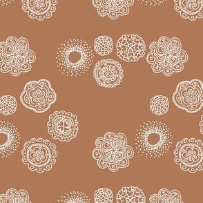 Blossom mandala abstract flower illustrations sweet romantic floral boho design spring summer rust brown neutral