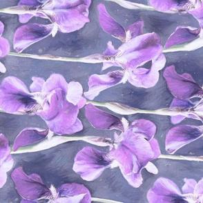 Simple Iris Pattern in Pastel Purple Rotated
