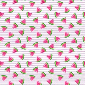 (micro scale) watermelons (purple stripes)- summer fruit fabric - C20BS