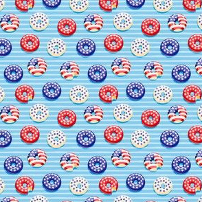 (micro scale) Stars and Stripes - Flag Donuts - Blue Stripes C20BS