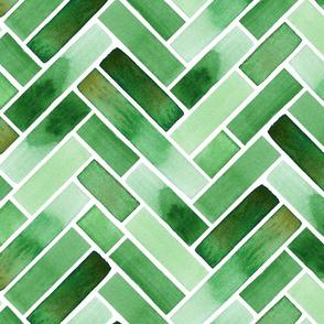 Warm Green Watercolour Chevron