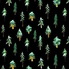 Magic woodland at night - watercolor fur trees for christmas, xmas, nursery