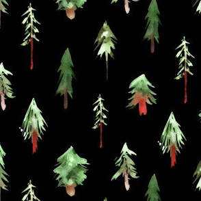 Magic woodland at night ★ painted fir trees for modern nursery, christmas, xmas forest