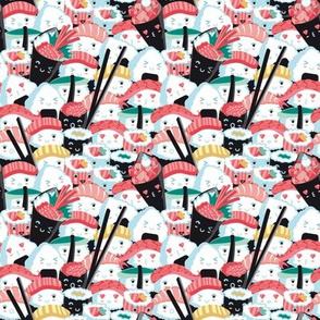 Tiny scale // Kawaii Sushi Crowd // salmon