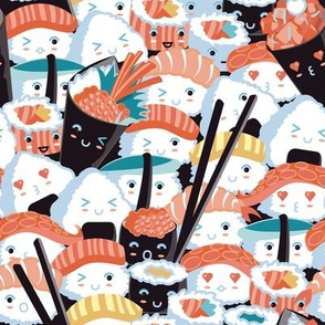 Small scale // Kawaii Sushi Crowd // orange