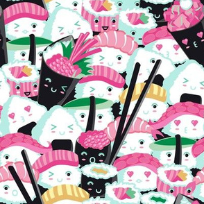 Small scale // Kawaii Sushi Crowd // pink