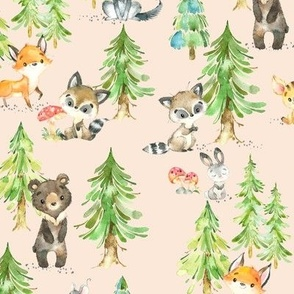 Young Forest (blush) Kids Woodland Animals & Trees, Bedding Blanket Baby Nursery - MEDIUM scale
