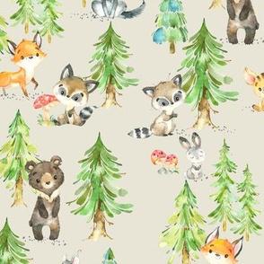 Young Forest (cream) Kids Woodland Animals & Trees, Bedding Blanket Baby Nursery - MEDIUM scale
