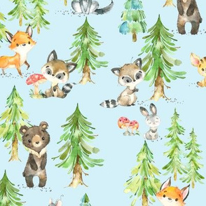 Young Forest (pale blue) Kids Woodland Animals & Trees, Bedding Blanket Baby Nursery - MEDIUM scale