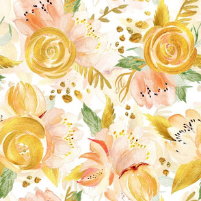 "14"" Hand drawn watercolor gold spring flowers  on simple white"