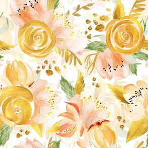 "12"" Hand drawn watercolor gold spring flowers  on simple white"
