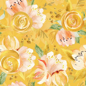 "14"" Hand drawn watercolor gold spring flowers  on sunny yellow"