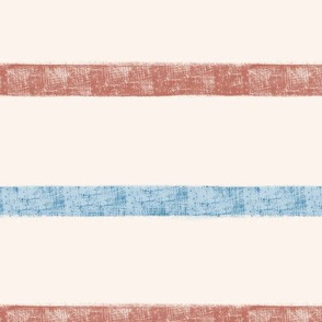 Burlap Stripe - Blue and Rust
