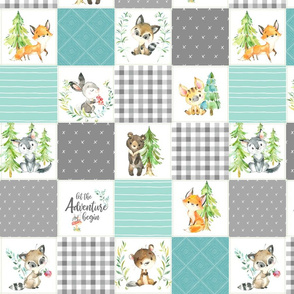 """3 1/2"""" Young Forest Adventure Baby Quilt Top – Woodland Animals Nursery Blanket Bedding (grays, mint, light teal) design A"""