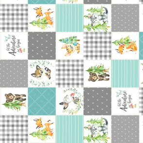 """3 1/2"""" Young Forest Adventure Baby Quilt Top – Woodland Animals Nursery Blanket Bedding (grays, mint, light teal) ROTATED design A"""