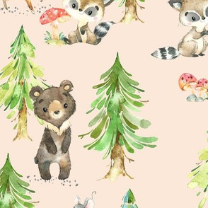 Young Forest (blush) Kids Woodland Animals & Trees, Bedding Blanket Baby Nursery, LARGE scale
