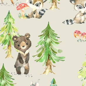 Young Forest (cream) Kids Woodland Animals & Trees, Bedding Blanket Baby Nursery, LARGE scale