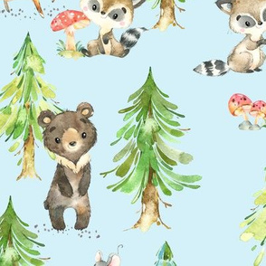 Young Forest (pale blue) Kids Woodland Animals & Trees, Bedding Blanket Baby Nursery, LARGE scale
