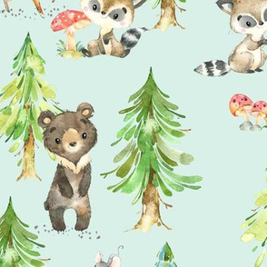 Young Forest (soft mint) Kids Woodland Animals & Trees, Bedding Blanket Baby Nursery, LARGE scale