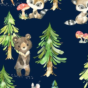 Young Forest (navy) Kids Woodland Animals & Trees, Bedding Blanket Baby Nursery, LARGE scale