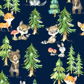 Young Forest (navy) Kids Woodland Animals & Trees, Bedding Blanket Baby Nursery - MEDIUM scale