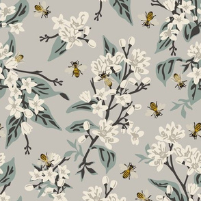 Bees & Lemons - Grey -Blue Leaves, Grey Stems