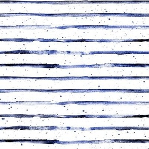 Midnight Blue Watercolor Stripes